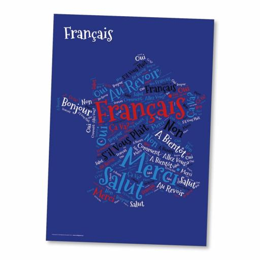 French Word Cloud Poster