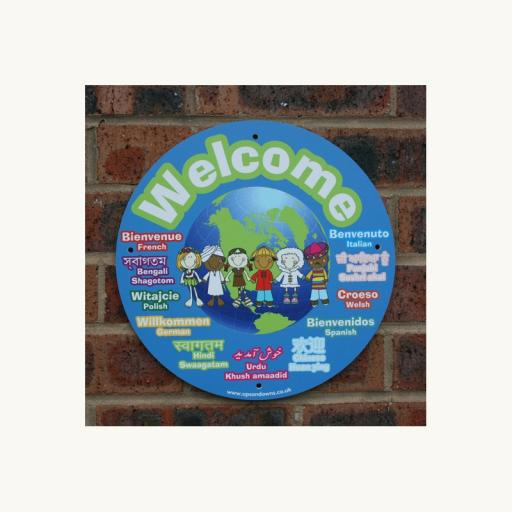 Multilingual Welcome Circle Outdoor Board