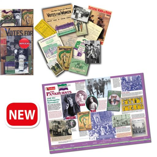 Suffragettes Memorabilia Pack and Pankhursts Poster