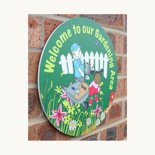 Gardening Area Welcome Circle Outdoor Board