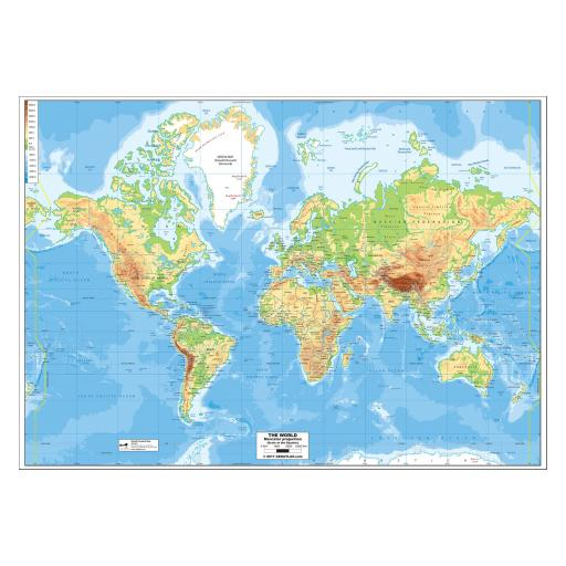 World Physical Map - Laminated