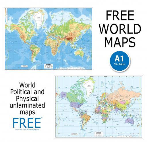 Free World Maps - Political and Physical Unlaminated Map Offer