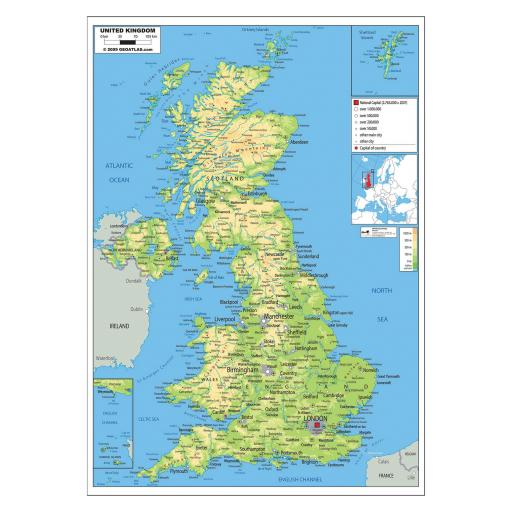 UK Physical Map - Laminated