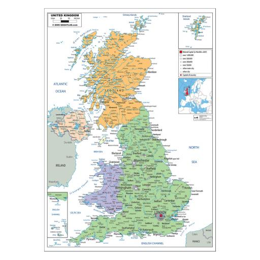 UK Political Map - Laminated